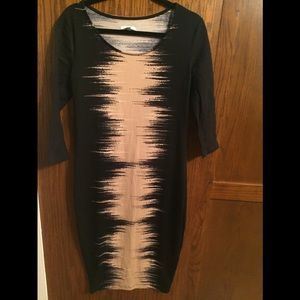 Bar III black and beige stretchy dress, size Large